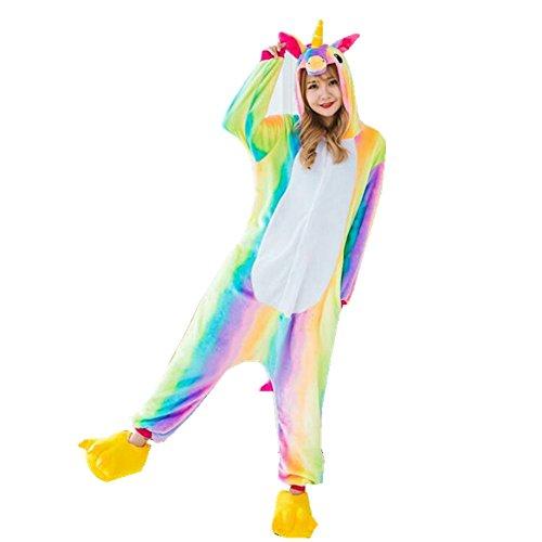 Rainbow Fox Unicornio Pijama Adultos Cosplay Disfraz Animal Ropa de Dormir Franela Novedad Víspera de Todos los Santos Navidad Ropa (L, Arco Iris)