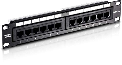 TRENDnet 12-Port Kat5/5e Ungeschirmtes Patchpanel, 10 Inch breit, 12 x Gigabit RJ-45 Ethernet Ports, TC-P12C5E (Pan X 12 10)