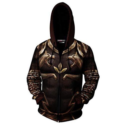 SDKHIN Herren Sportswear Langarm Sweatshirts Hoodies 3D Print Pullover God of War 2 Damen Cosplay Kostüm Halloween Fashion Pullover,Brown-XXXL