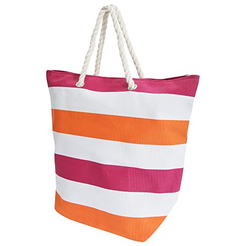 FLOSO® Womens/Ladies Stripe Patterned Canvas Summer Handbag (One Size) (White/Orange)