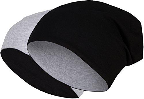 2 in 1 Wendemütze - Reversible Slouch Long Beanie Jersey Baumwolle elastisch Unisex Herren Damen Mütze Heather in 24 verschiedenen Farben (8) (Light Grey / Black) (Heather Grey Unisex Baumwolle)