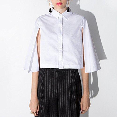 QIYUN.Z Femmes Blanc-Manteau Court Shirt Chale Manches Unique Poitrine Chemisier Blanc
