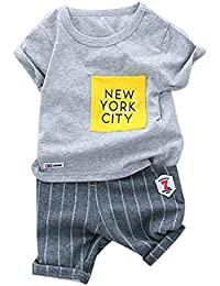 Amlaiworld Conjuntos Ropa Bebe niño Verano Camiseta de niño bebé niños Letra Camisetas Pantalones Cortos de Rayas Conjunto de Trajes 12 Mes - 3 años