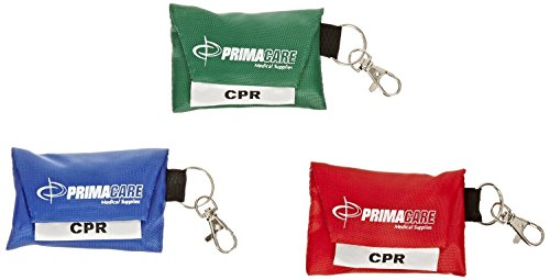 3 pack - CPR Shield Barrier Pocket Masks In KEYRING POUCH - 3 (Mask Pouch)