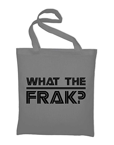 What the frak BSG Jutebeutel, Beutel, Stoffbeutel, Baumwolltasche, gelb Light Grey