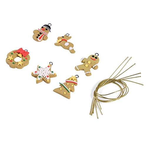 Naisidier zarte schöne modische schöne Hand Nicht leicht zu verletzen, einfach aufzuhängen, 6 Stück/Set Weihnachtsmann Tier, Lebkuchen Garten Haus Küche Weihnachten Dekoration (Weihnachten Lebkuchen Dekoration)