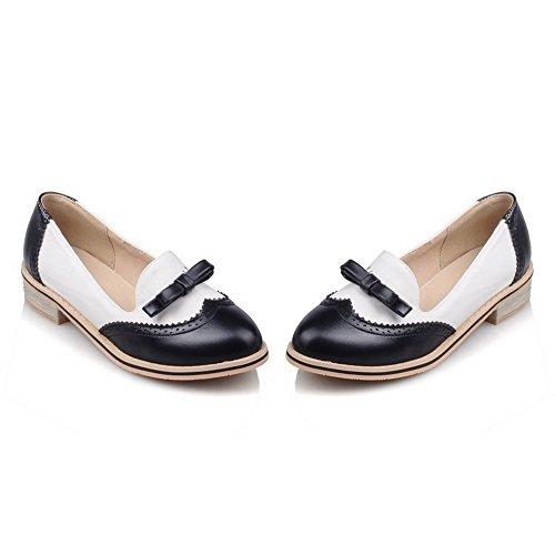 AllhqFashion Damen Rund Zehe Niedriger Absatz Gemischte Farbe Ziehen Auf Pumps Schuhe Schwarz