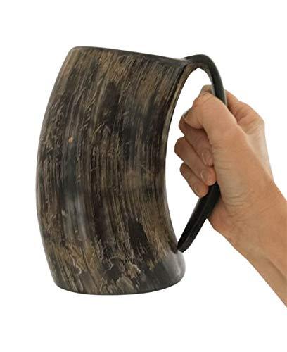 Nordic Dinkware Trinkbecher mit Wikinger-Motiv, geruchsfest, ca. 400 ml, mittelalterliches natürliches Horn