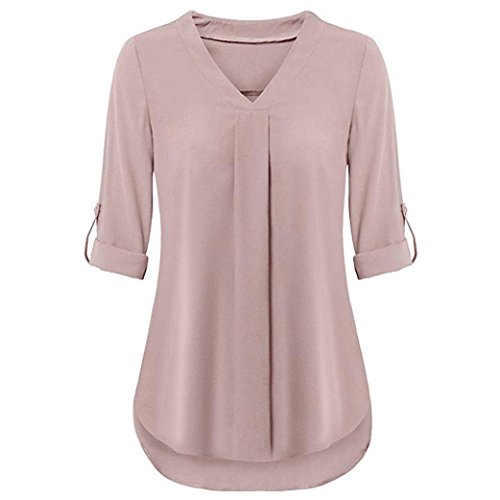 Yvelands Damen Oberteile Long Sleeve Roll-Up Top Casual V Neck Layered Shirt Blouses