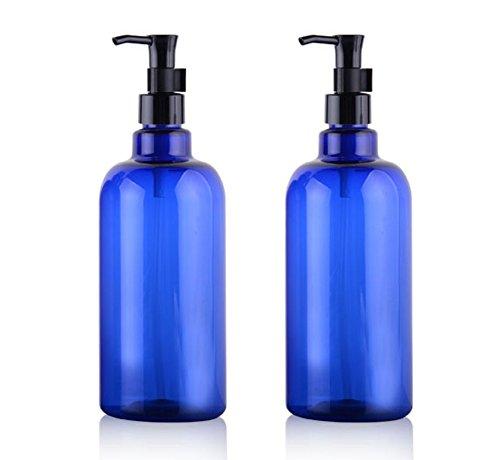 2PCS bouteilles en plastique de 500 ml avec des pompes noires maquillage haut de gamme cosmétique bain douche articles de toilette des contenants de liquide accessoires de voyage (Bleu)