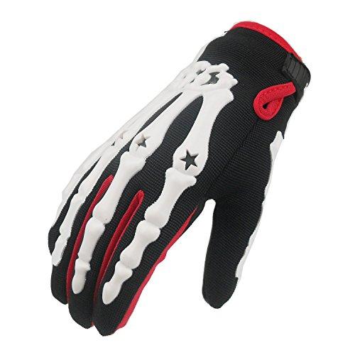 MADBIKE, guanti integrali da moto e motocross, motivo: scheletro, White, M