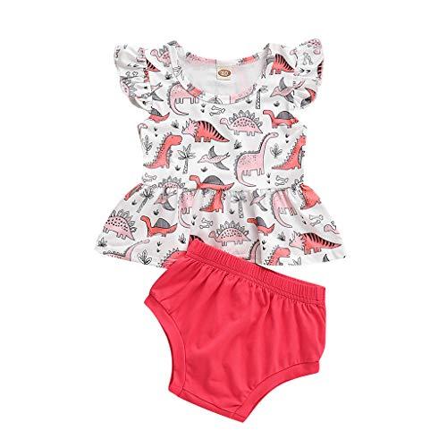 Baby T-Shirt Strap Kleid Weihnachten Outfits 2 Teile/Satz Kleinkind Mädchen Langarm Rüschen Top Overall Plaid Rock Kleidung Set (3-4 ()