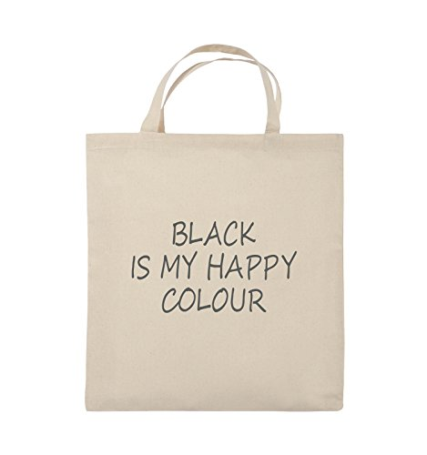 Comedy Bags - BLACK IS MY HAPPY COLOUR - Jutebeutel - kurze Henkel - 38x42cm - Farbe: Schwarz / Silber Natural / Grau