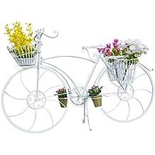 Macetero Acero Forja Bicicleta Vintage Color Blanco Decoración Jardín