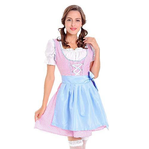 UJUNAOR Damen Dirndl Kleid Traditionelle Bayerische Oktoberfest Kostüme Karneval Süß Mädchen(Blau,CN - Mann Ray Kostüm