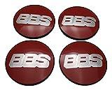 BBS Original Emblem Nabendeckel Rot Silber Nabenkappe Felgendeckel 56mm 4K Felgenabdeckung