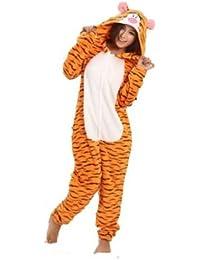 Amour-Tier Onesie Pyjama Blau Stich Kostüme Schlafanzug Erwachsene Unisex Tieroutfit tierkostüme Jumpsuit (l, Tiger)