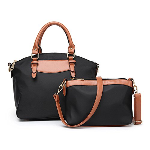 Beylasita Damen Tasche Set 2 teilig Nylon Schultertasche Handtasche Umhängetasche 3 Farbe (Schwarz) (Tasche Nylon-zwei Tote)