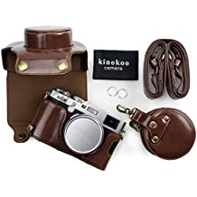 Kinokoo, custodia in similpelle con tracolla per fotocamera Fujifilm X100F e per obiettivi da 23mm, con borsa portaoggetti e panno di pulizia