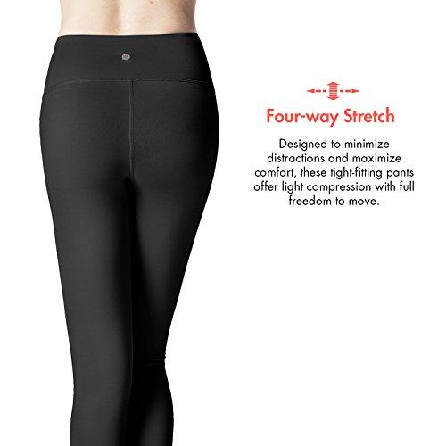 Lapasa Damen Sport Leggings - TUMMY CONTROL - High Waist Lang Yoga Sportleggings Übergröße Sporthosen Tights für Gym Fitness Workout L01 Schwarz
