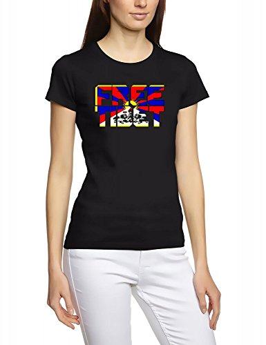 FREE TIBET ! SCHRIFT GIRLY T-SHIRT, SCHWARZ, GR.XL (T-shirt Tibet Schwarz Free)