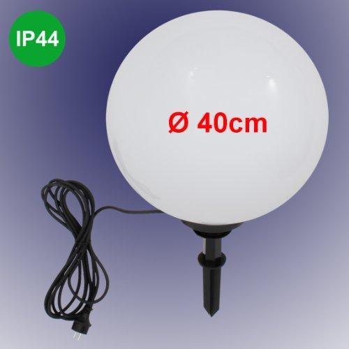 Trango TG400B 40cm Gartenkugel Leuchte Kugelleuchte weiß IP44 230V - inkl. 1x E27 LED Leuchtmittel (Größe: 400mm)