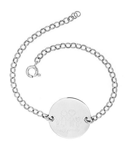 Broky & co - bracciale rolò cerchio con incisione famiglia in argento 925 regolabile