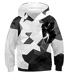 Idgreatim Jungen Hoodies 3D Rundhalsausschnitt Personalisierter Pullover Stilvoller Unisex-Pullover Hoodies Tops XL