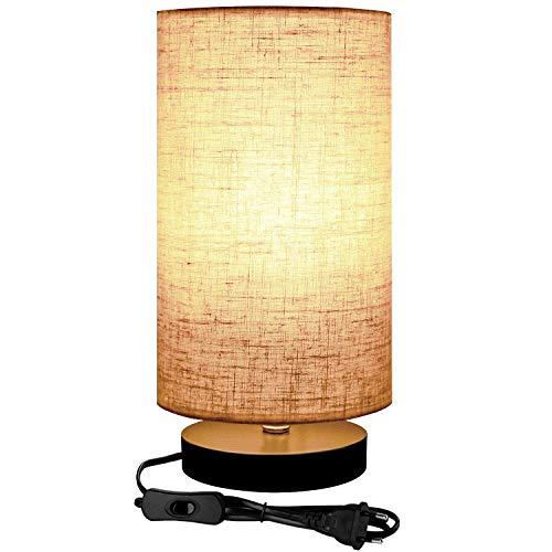 Lightess Lámpara de Mesa LED Luz Mesita de Noche Casquillo E27 Pantalla de Tela Con Interruptor Lámpara Escritorio Diseño Vintage para Dormitorio, Sala de Estudio (No Incluye Bombilla) (redondo)
