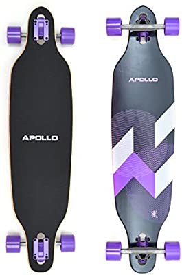Apollo Longboard Special Edition Tabla Completa con rodamiento de bolas High Speed ABEC incl. Skate T-Tool, Drop Through Freeride Skate Cruiser Boards