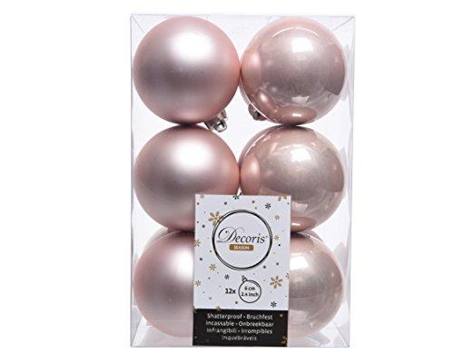 Izaneo - Lot de 12 boules de noel rose poudre