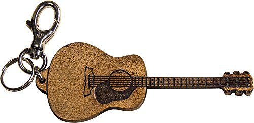 Llavero guitarra de cuero genuina curtida vegetal - Martin D28 grabado con láser - Etabeta Artigiano Toscano - Made in Italy
