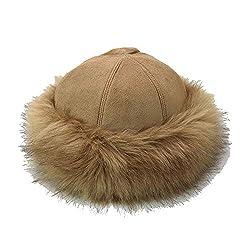XUBA Unisex Hut Wildleder Mongolische Hut rund verdickt und flauschig umwickelt Kopf Pullover Kappe Warm Keeper Gr. Einheitsgröße, Camel