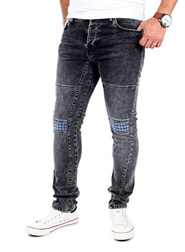 Reslad Herren-Jeans Skinny Slim Fit Jogg-Jeans Jeans-hose viele Modelle & Farben 524 Schwarz