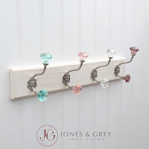 Jones & Grey Vintage Wand montiert Holz Flur Garderobe 4Gusseisen Antik Glas Haken