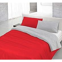 Funda nòrdica Rojo/Gris claro 1 plaza (150 x 200 cm + 52 x 82 cm)