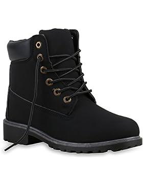 Stiefelparadies Damen Herren Unisex Worker Boots mit Blockabsatz Profilsohle Flandell