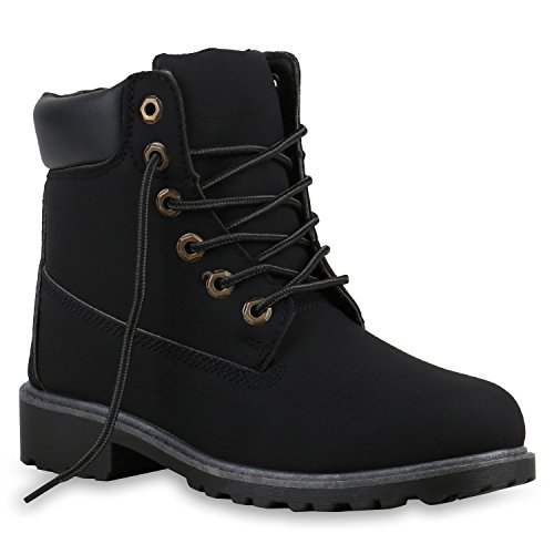 Stiefelparadies Unisex Damen Herren Boots Bequeme Worker Boots Profilsohle Outdoor Schuhe 128363 All Schwarz 40 (Bequem Kostüm)
