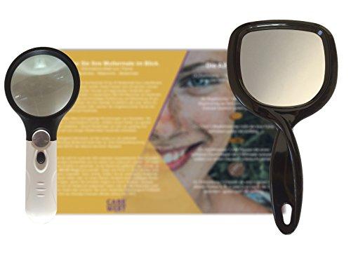 Informations-Set zum Thema Hautkrebs und Muttermal Check Leberfleck Melanom inklusive Lupe, Spiegel und Infoflyer