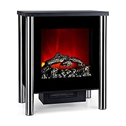 Klarstein Copenhagen - Electric Fireplace w/Heating, Electric Fireplace, Electric Fireplace Oven, 950 or 1900 Watts, Thermostat, Switchable Heating Function, Flame Effects, Glass Front, Black