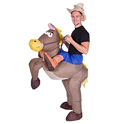 Inflatable Cowboy Ride Me Horse Adult Carry On Fancy Dress Costume