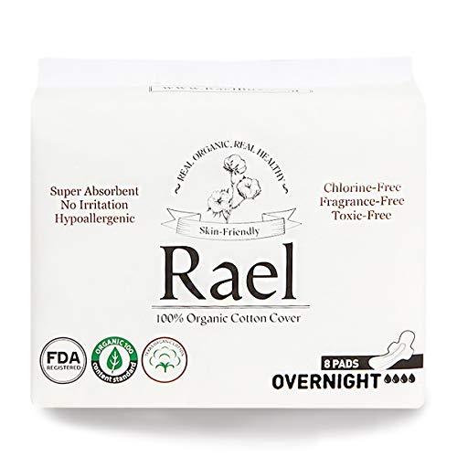 Rael - assorbenti in 100% cotone biologico, da notte, ultra sottili con ali