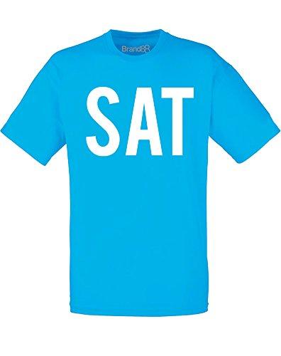 Brand88 - Brand88 - Saturday, Mann Gedruckt T-Shirt Azurblau/Weiß