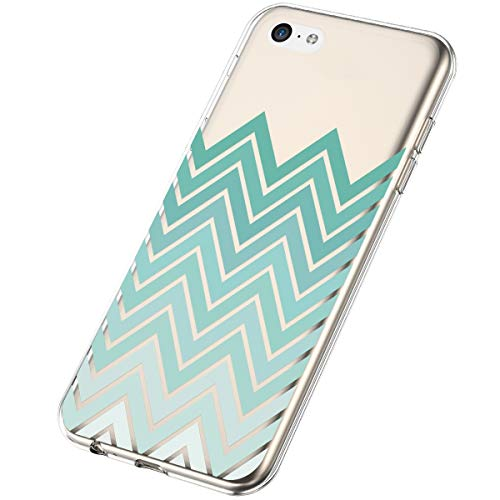 SainCat Compatible con iPhone 5C Funda,Soft TPU Silicono Pétalos de Rosa Blossom Funda Transparente...