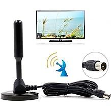 Domowin Antena Portátil con Base Magnética, Antena de Alta Ganancia TDT (Televisión Digital Terrestre) para Receptor TDT USB / Televisión DVB-T Negro