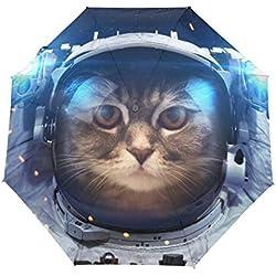 Paraguas Plegable Resistente al Viento con Cierre automático y diseño de Gato en el Espacio Exterior
