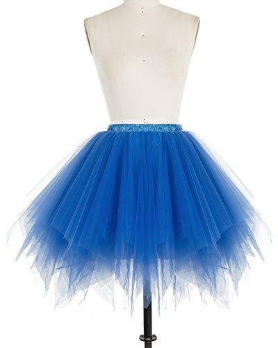 Dresstells Damen Tutu Unterkleid Kurz Ballett Tanzkleid Ballklei Abendkleid Gelegenheit Zubehör Royal Blue