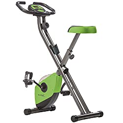 Skandika Foldaway x 1000Exercise Bike Home Trainer with Hand Pulse Sensors, 8Stage Vertical Magnetic Resistance LCD Display without Back Rest, Fitnessbike Foldaway X-1000, Grün