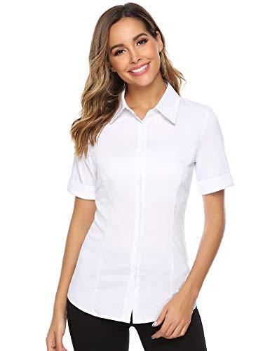 Abollria Damen Bluse Basic Stretch Hemdbluse Elegante 3/4 Arm Business Blusen Button Down fürs Büro,Weiß,XXL -