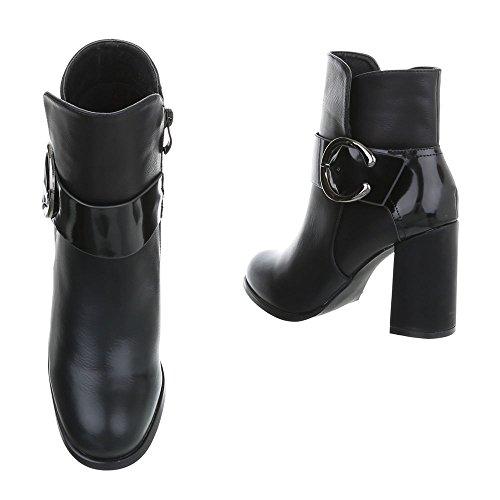 Ital-design Femmes Chaussures Bottes Talon Kitty Cheville Bottes Avec Talon Noir 77-1